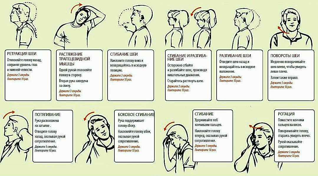Разминка для шеи для нормализации кровообращения